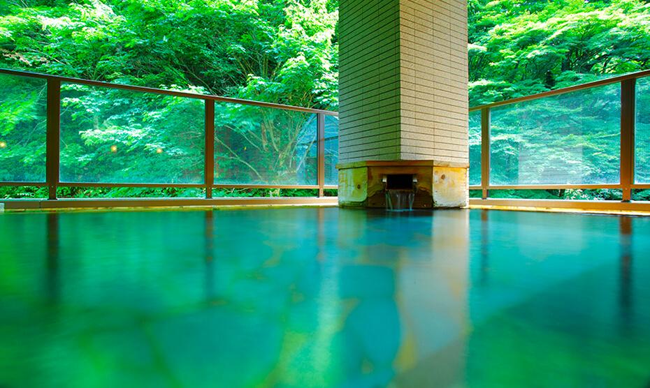 2種類の温泉が訪れる人を癒します